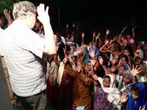 Tom preaching at open air meeting near Karimnagar.